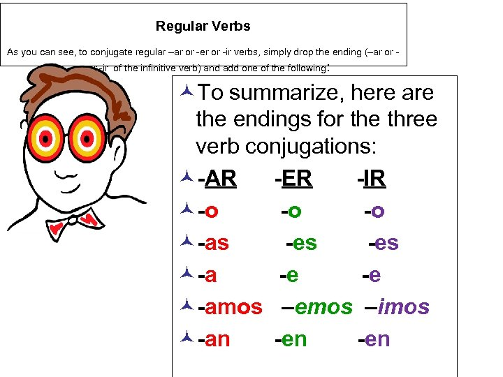 Regular Verbs As you can see, to conjugate regular –ar or -er or -ir