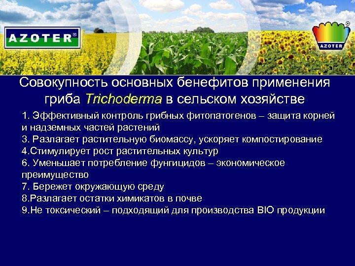Совокупность основных бенефитов применения гриба Trichoderma в сельском хозяйстве 1. Эффективный контроль грибных фитопатогенов