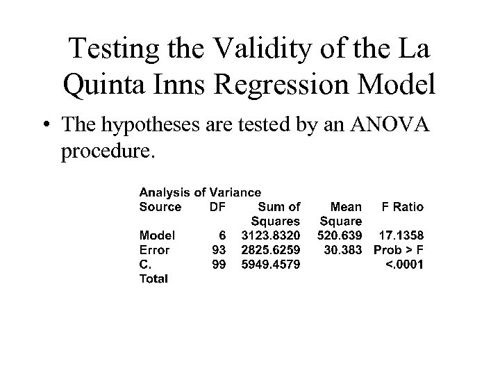 Testing the Validity of the La Quinta Inns Regression Model • The hypotheses are