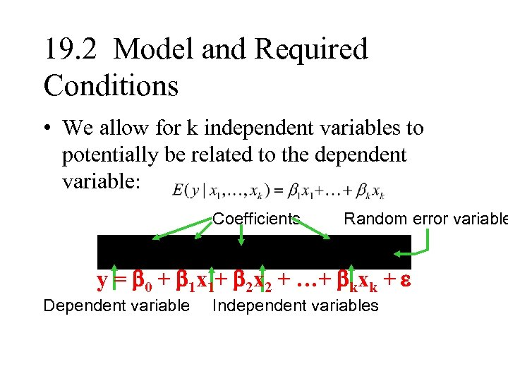 19. 2 Model and Required Conditions • We allow for k independent variables to