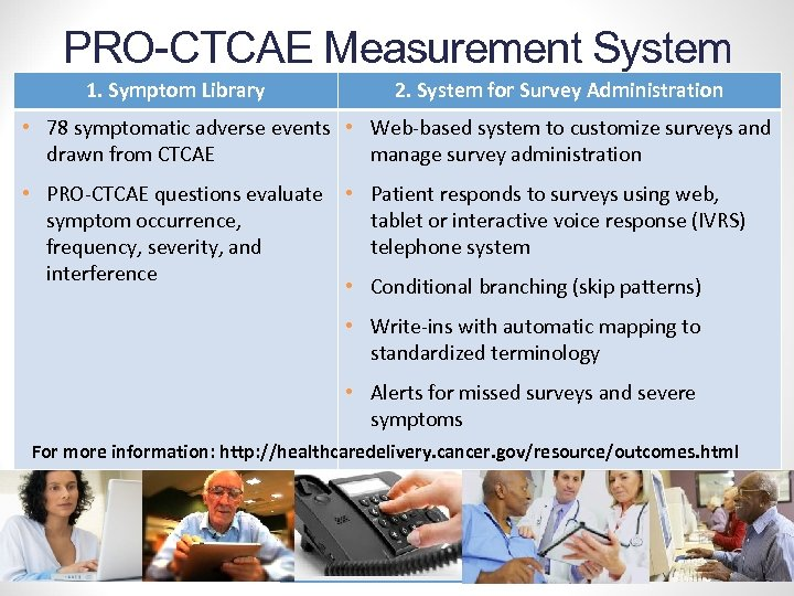 PRO-CTCAE Measurement System 1. Symptom Library 2. System for Survey Administration • 78 symptomatic