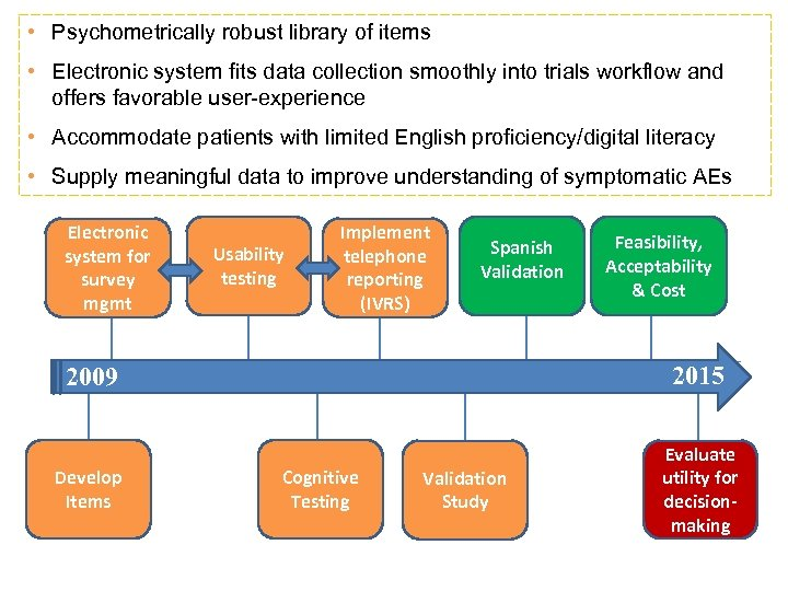 • Psychometrically robust library of items • Electronic system fits data collection smoothly