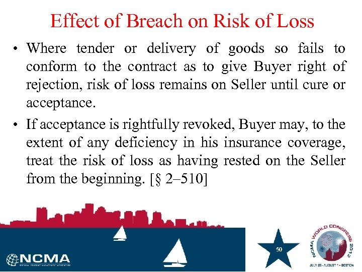 Effect of Breach on Risk of Loss • Where tender or delivery of goods