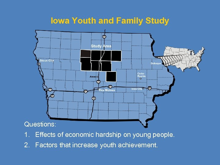 Iowa Youth and Family Study Questions: 1. Effects of economic hardship on young people.
