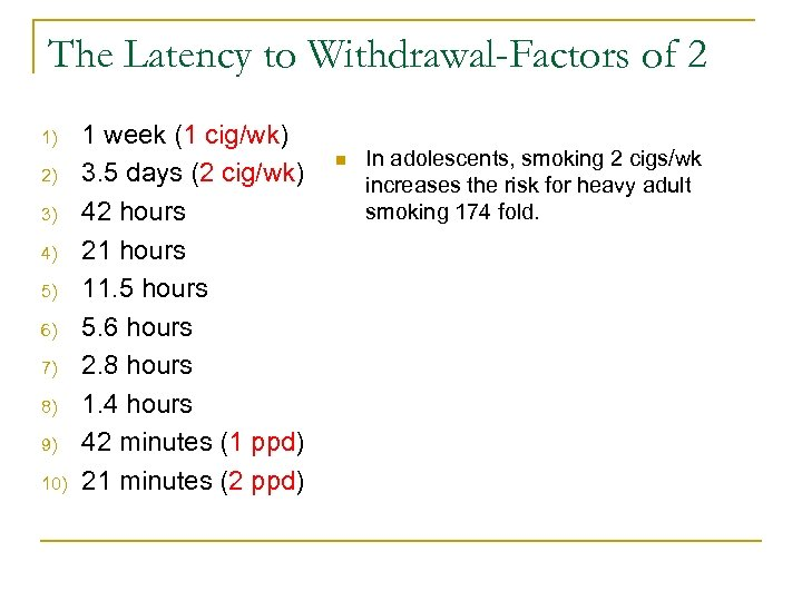 The Latency to Withdrawal-Factors of 2 1) 2) 3) 4) 5) 6) 7) 8)