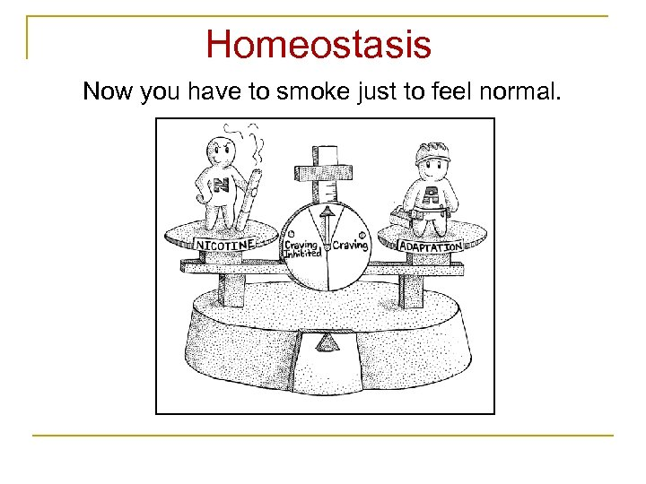 Homeostasis Now you have to smoke just to feel normal.