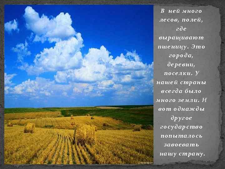 В ней много лесов, полей, где выращивают пшеницу. Это города, деревни, поселки. У нашей