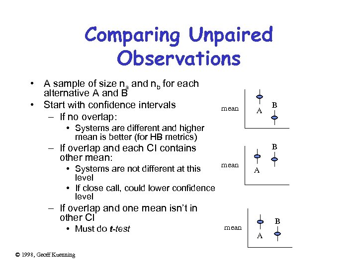 Comparing Unpaired Observations • A sample of size na and nb for each alternative