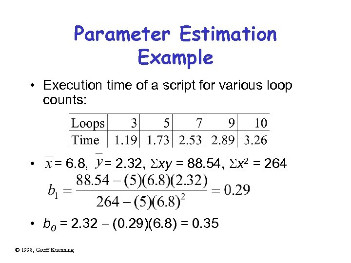 Parameter Estimation Example • Execution time of a script for various loop counts: •