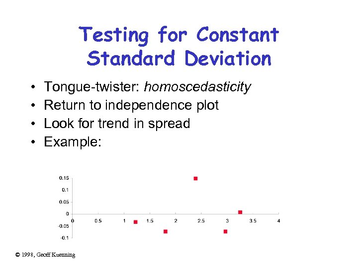 Testing for Constant Standard Deviation • • Tongue-twister: homoscedasticity Return to independence plot Look