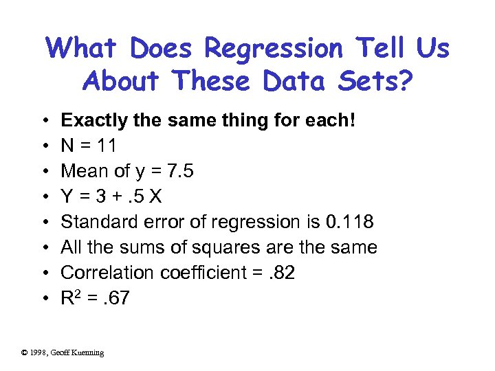 What Does Regression Tell Us About These Data Sets? • • Exactly the same