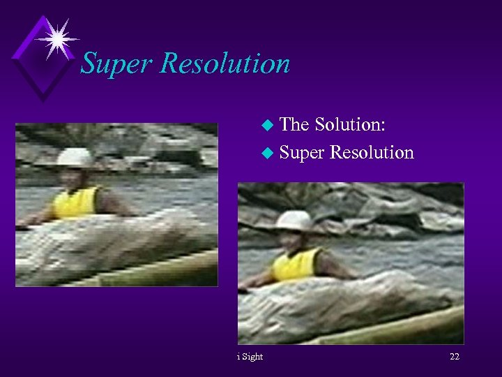 Super Resolution u The Solution: u Super Resolution i Sight 22