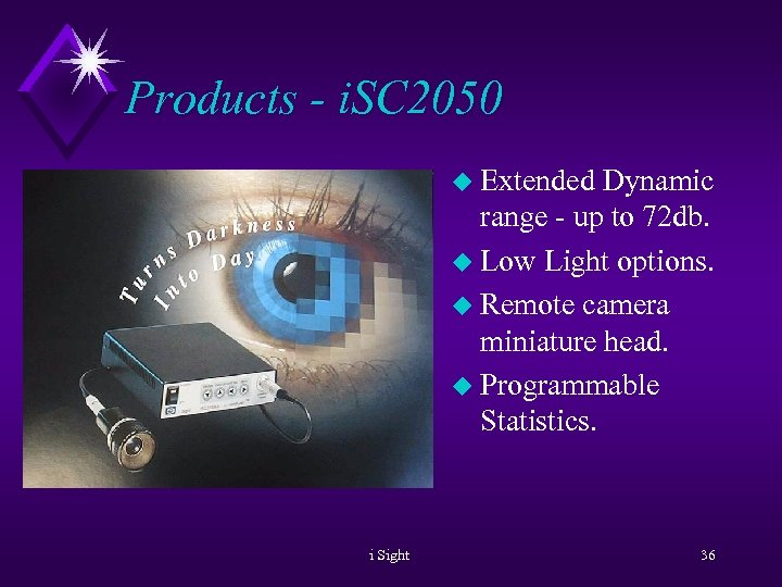Products - i. SC 2050 u Extended Dynamic range - up to 72 db.