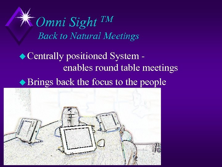 Omni Sight TM Back to Natural Meetings u Centrally positioned System enables round table