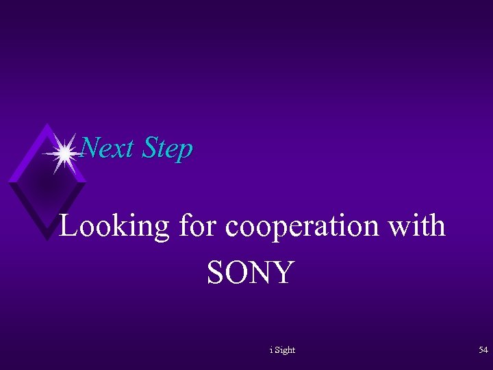 Next Step Looking for cooperation with SONY i Sight 54