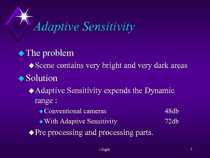 Adaptive Sensitivity u The problem u Scene contains very bright and very dark areas