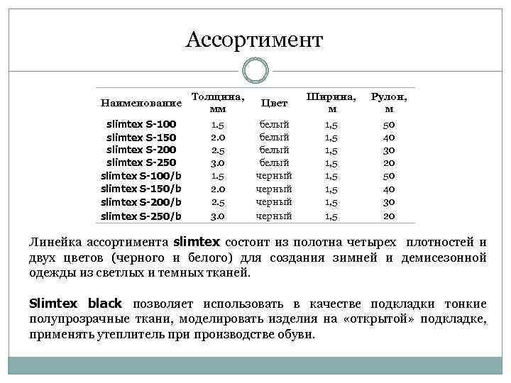 Ассортимент Наименование Толщина, мм Цвет Ширина, м Рулон, м slimtex S-100 slimtex S-150 slimtex