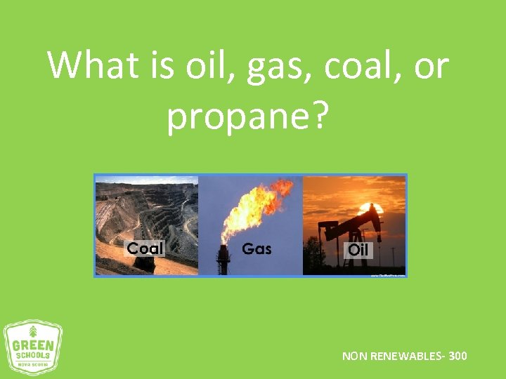 What is oil, gas, coal, or propane? NON RENEWABLES- 300