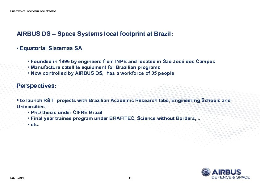 One mission, one team, one direction AIRBUS DS – Space Systems local footprint at