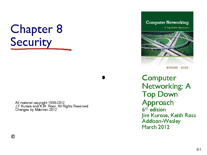 Chapter 8 Security All material copyright 1996 -2012 J. F Kurose and K. W.