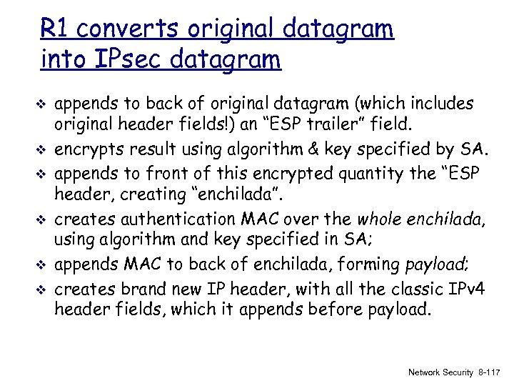 R 1 converts original datagram into IPsec datagram v v v appends to back