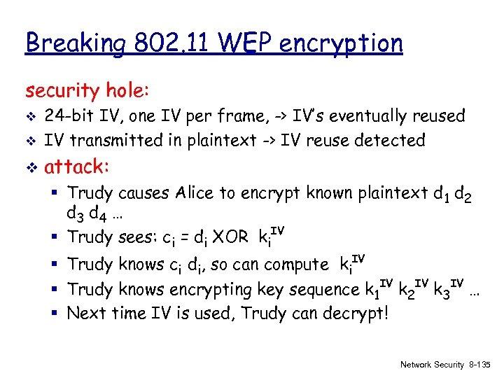 Breaking 802. 11 WEP encryption security hole: v 24 -bit IV, one IV per