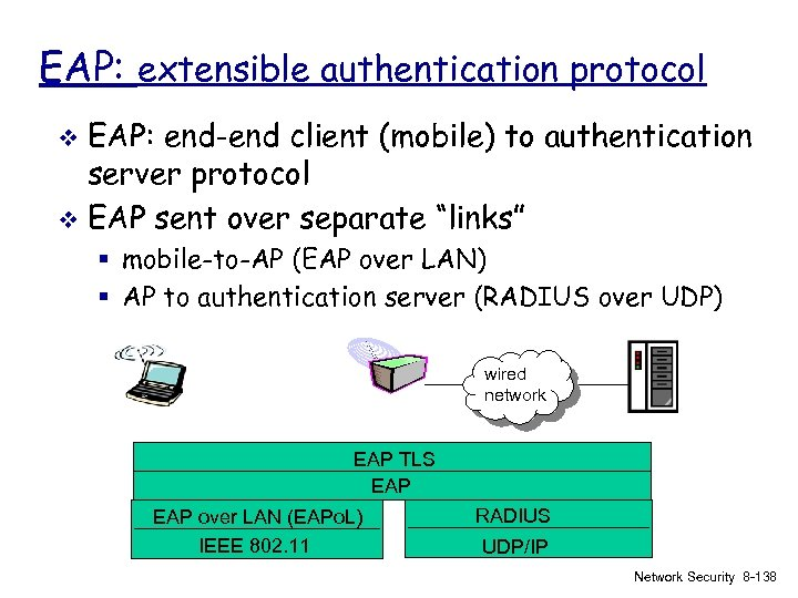EAP: extensible authentication protocol EAP: end-end client (mobile) to authentication server protocol v EAP