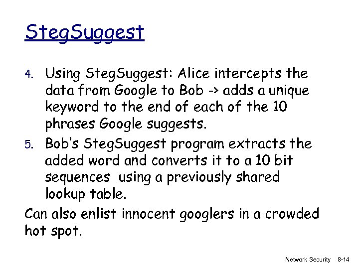Steg. Suggest Using Steg. Suggest: Alice intercepts the data from Google to Bob ->