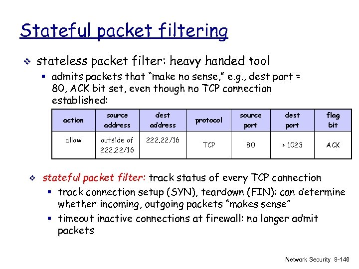 Stateful packet filtering v stateless packet filter: heavy handed tool § admits packets that