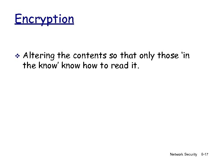 Encryption v Altering the contents so that only those 'in the know' know how