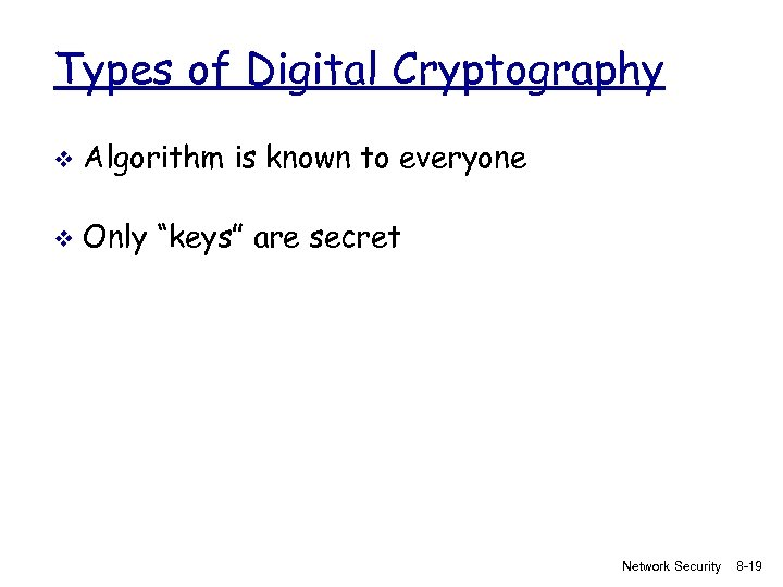 """Types of Digital Cryptography v Algorithm is known to everyone v Only """"keys"""" are"""
