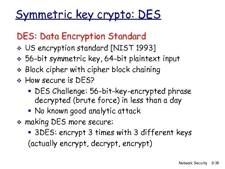 Symmetric key crypto: DES: Data Encryption Standard v v v US encryption standard [NIST