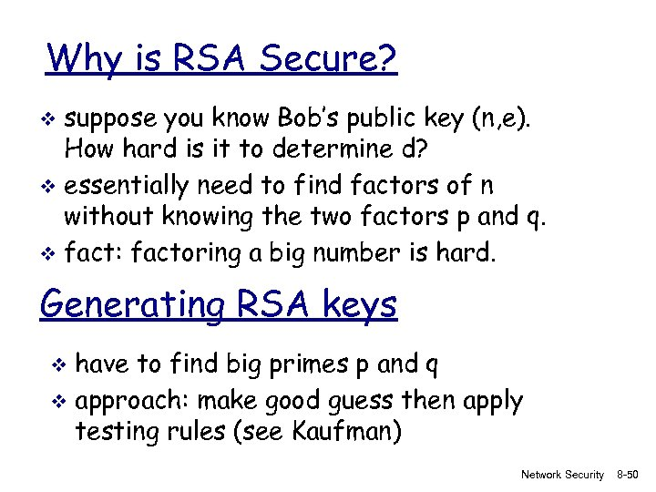 Why is RSA Secure? suppose you know Bob's public key (n, e). How hard