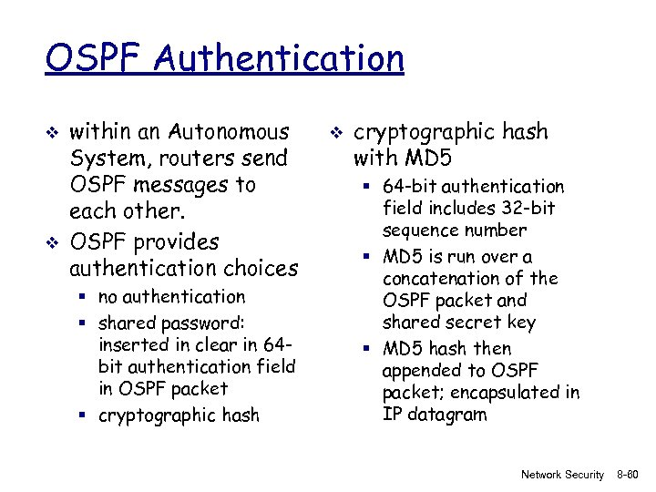 OSPF Authentication v v within an Autonomous System, routers send OSPF messages to each