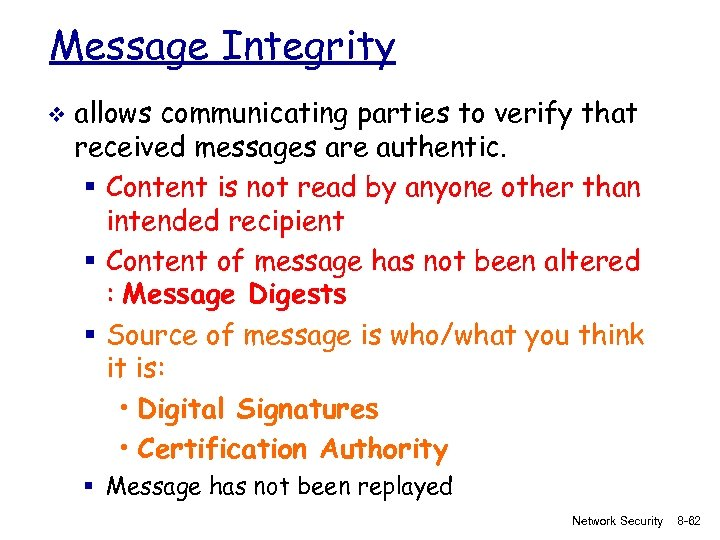 Message Integrity v allows communicating parties to verify that received messages are authentic. §