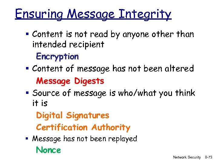 Ensuring Message Integrity § Content is not read by anyone other than intended recipient