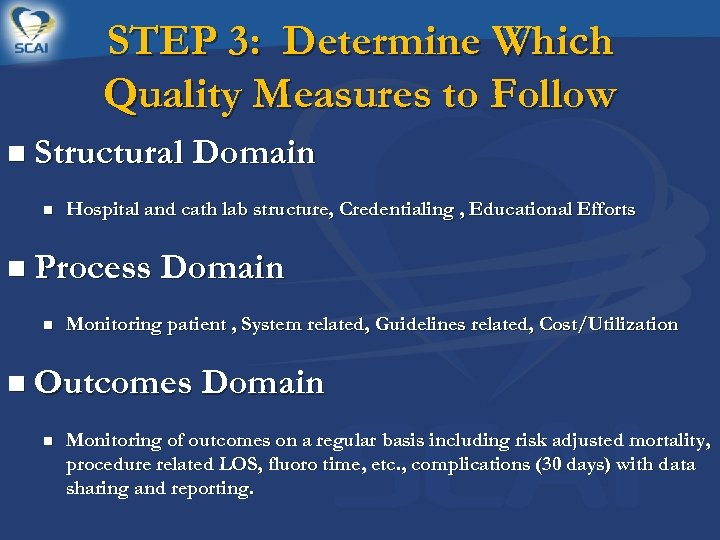 STEP 3: Determine Which Quality Measures to Follow n Structural Domain n Hospital and