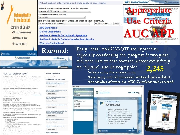 """Appropriate Use Criteria AUC APP Rational: Early """"data"""" on SCAI-QIT are impressive, especially considering"""
