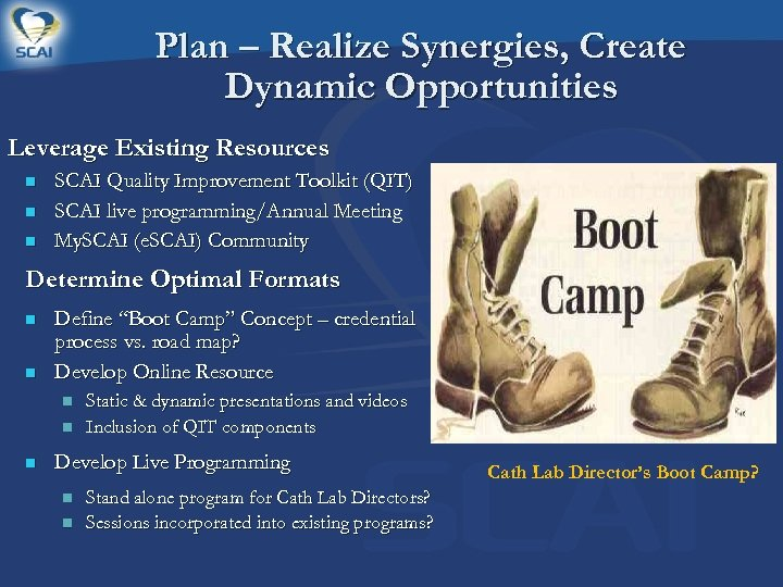 Plan – Realize Synergies, Create Dynamic Opportunities Leverage Existing Resources n n n SCAI