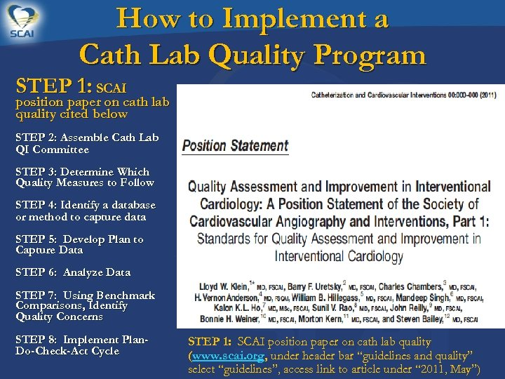 How to Implement a Cath Lab Quality Program STEP 1: SCAI position paper on