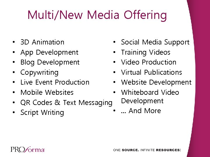Multi/New Media Offering • • 3 D Animation • App Development • Blog Development
