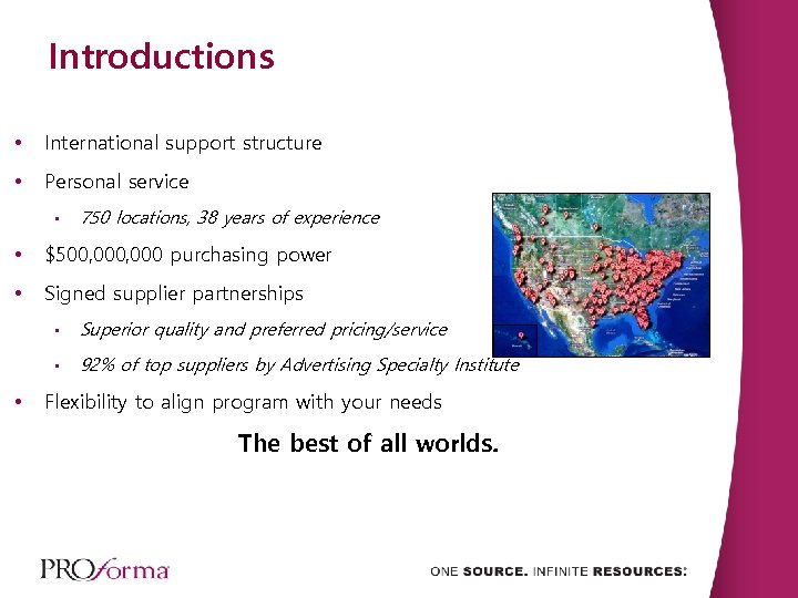 Introductions • International support structure • Personal service • 750 locations, 38 years of