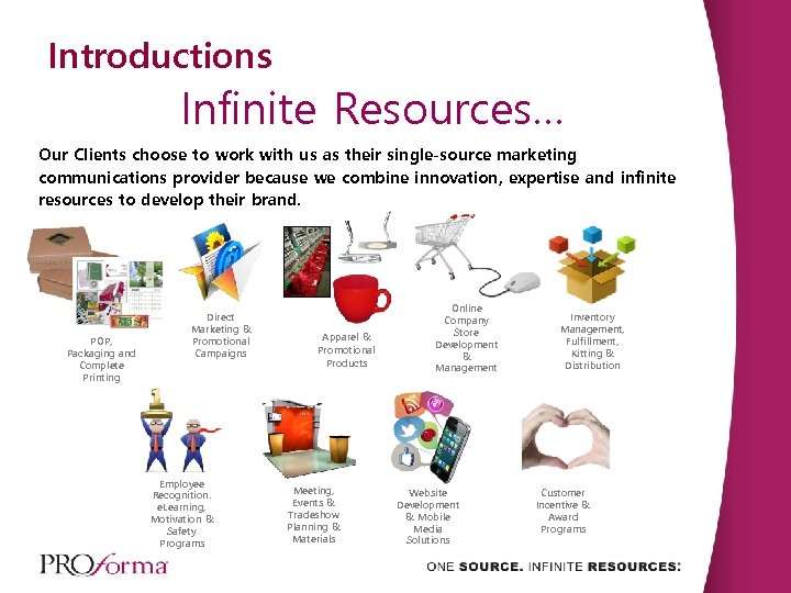 Introductions Infinite Resources… Our Clients choose to work with us as their single-source marketing