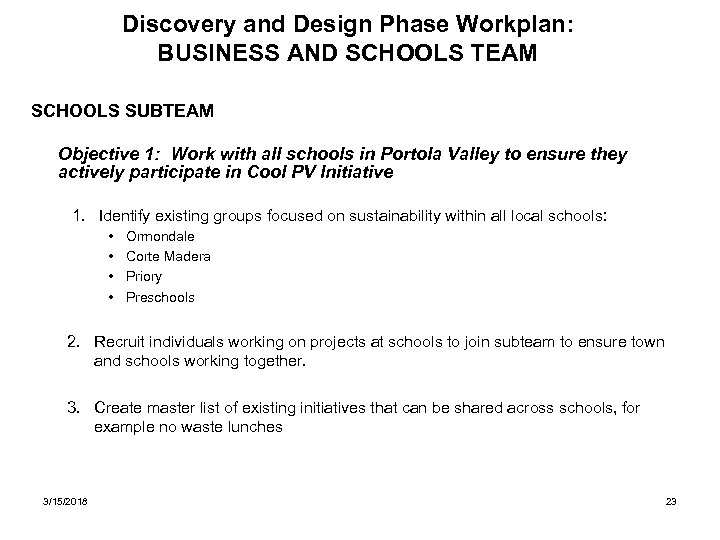 Discovery and Design Phase Workplan: BUSINESS AND SCHOOLS TEAM SCHOOLS SUBTEAM Objective 1: Work