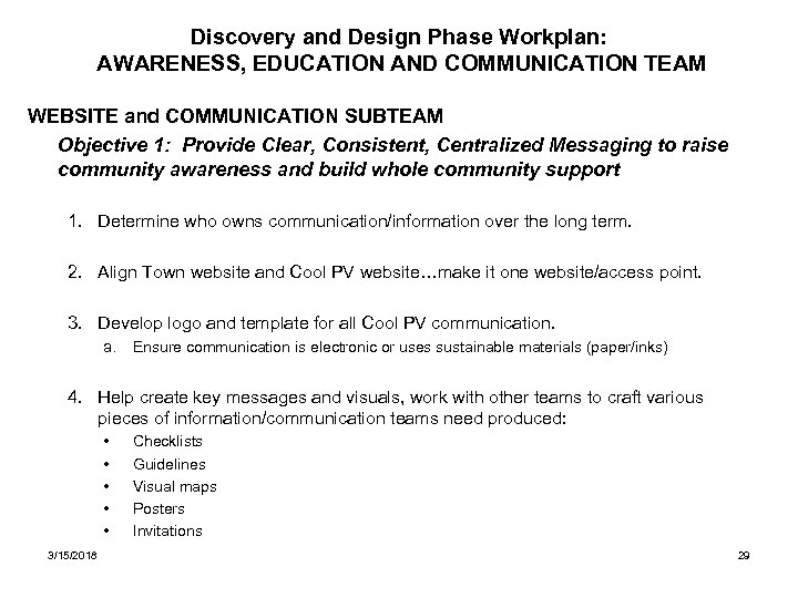 Discovery and Design Phase Workplan: AWARENESS, EDUCATION AND COMMUNICATION TEAM WEBSITE and COMMUNICATION SUBTEAM