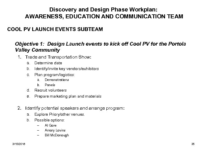 Discovery and Design Phase Workplan: AWARENESS, EDUCATION AND COMMUNICATION TEAM COOL PV LAUNCH EVENTS