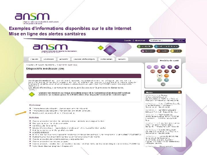 Echelon national Exemples d'informations disponibles sur le site Internet Mise en ligne des alertes