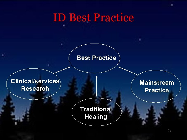 ID Best Practice Clinical/services Research Mainstream Practice Traditional Healing 16