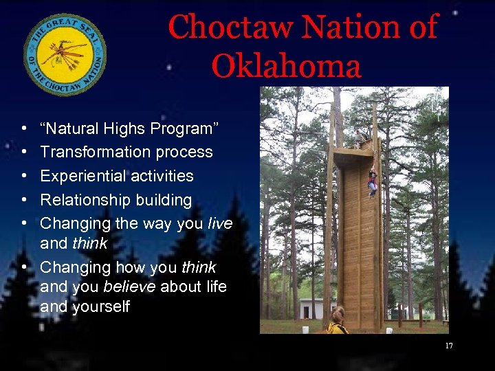 """Choctaw Nation of Oklahoma • • • """"Natural Highs Program"""" Transformation process Experiential"""