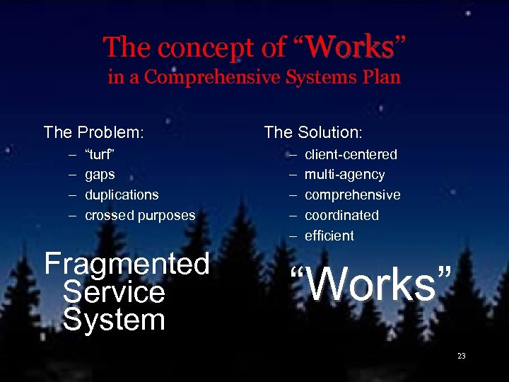 "The concept of ""Works"" in a Comprehensive Systems Plan The Problem: – – ""turf"""
